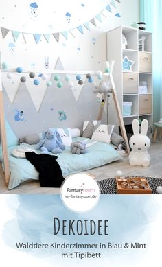 Kinderzimmeridee in Blau und Mint #kinderzimmer #deko #waldtiere #bilder #wandgestaltung