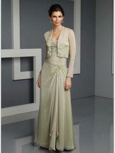 (FITS0251839 )Sheath / Column Spaghetti Straps  Ruffles  Long Sleeves Floor-length Chiffon Mother of the Bride Dresses