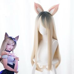 League of Legends KDA Ahri cosplay wig Cosplay Hair, Cosplay Anime, Cosplay Outfits, Cosplay Wigs, Cosplay Costumes, Kawaii Hairstyles, Cute Hairstyles, Up Personajes, League Of Legends