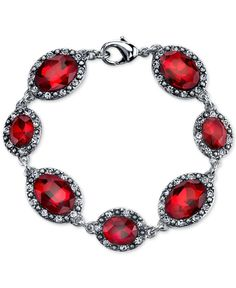 2028 Silver-Tone Large Crimson Stone and Pave Link Bracelet
