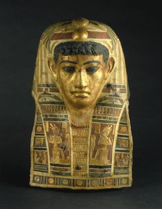 Mummy Mask, 1st century C.E. Stucco, gilded and painted, 20 1/4 x 13 x 7 7/8 in. Egyptian, the Roman period