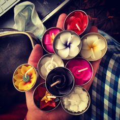 Handmade candles for the painted jars.