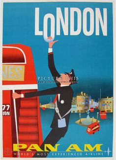 1962 airline poster promoting travel to London: Pan Am by Jet Clipper. Artwork by Aaron Fine.