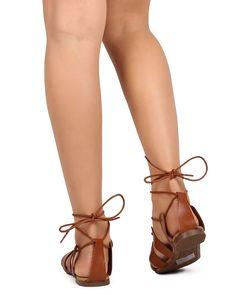 467809f7a0a Breckelle s Indio-12 Leatherette Open Toe Minimal Gladiator Wrap Sandal      More info