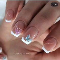 Classy Nail Designs, Fall Nail Art Designs, French Nail Designs, Purple Nail Art, Pretty Nail Art, Pink Nails, Wedding Nail Colors, Wedding Nails Design, Romantic Nails