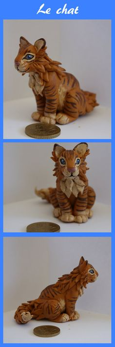 Le Chat - Citron-Bleu - french polymer clay - so cute looks exactly like one of mine.