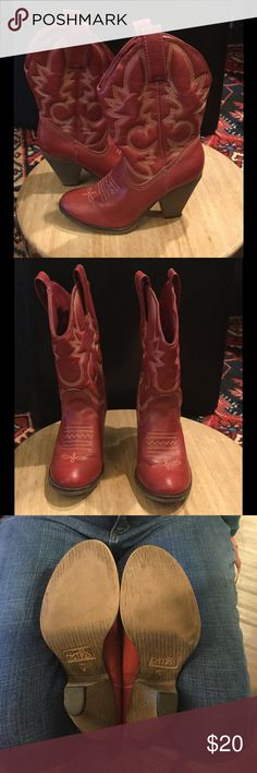 """Mia Red Laura Boots Red boots with embellished stitching design on boot. Heel 3 1/2"""", shank 5 3/4"""", calf circumference 14"""". Man made upper and outsole. Minor scuff on one heel. Good condition. Mia Shoes Heeled Boots"""