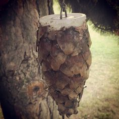 Taking a film canister to the next level by attaching pieces of a tree cone to the outside so it blends in. #geocache