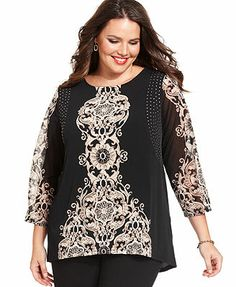 Style&co. Plus Size Top, Three-Quarter-Sleeve Printed Studded Tunic