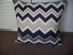 18''x18'' Chevron Navy Blue Pillow Cover Light by CleusaSordiDecor, $18.00