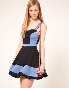 Asos Collection Asos Skater Dress in Colour Block in Blue