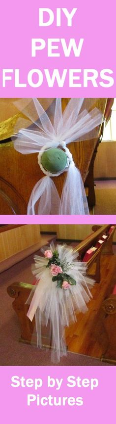 flower arrangements Tulle Bow Tutorial - Easy Photo Directions for Pew Bows Learn how to make bridal bouquets, corsages, boutonnieres, church decorations and reception centerpieces. Buy fresh flowers and discount florist supplies. Church Wedding Decorations Aisle, Pew Decorations, Wedding Reception Centerpieces, Wedding Church, Wedding Ceremony, Wedding Receptions, Diy Wedding Bouquet, Wedding Flowers, Bridal Bouquets