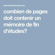 combien de pages doit contenir un mémoire de fin d'études?