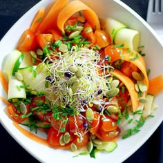 Carrot And Zucchini Linguini Salad Recipe  with 9 ingredients