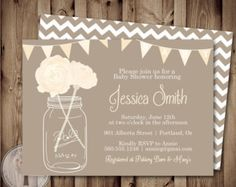 NEUTRAL Baby Shower Invitation, baby shower invite, mason jar baby shower, mason jar, flowers, baby, gray, tan, kahki, tan, taupe
