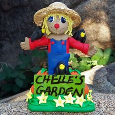 Personalized Polymer Clay Garden Scarecrow with Pumpkins Flowers Crows | CreativeCritters - Dolls & Miniatures on ArtFir