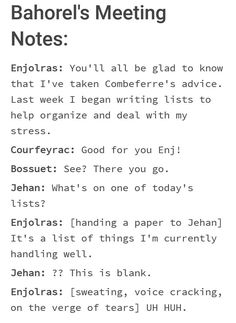 Theatre Geek, Broadway Theatre, Musical Theatre, Theater, Les Mis Funny, Les Miserables Funny, Enjolras Grantaire, Writing Lists, Dear Evan Hansen