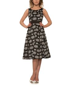 Look at this #zulilyfind! HEARTS & ROSES LONDON Black Pinwheel Fit & Flare Dress - Plus Too by HEARTS & ROSES LONDON #zulilyfinds