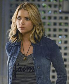 "Hanna's striped ""J'aime"" top and denim jacket on Pretty Little Liars.  Outfit Details: http://wornontv.net/34895/ #PLL"