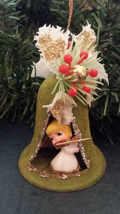 items similar to vintage green flocked christmas ornament angel in bell diorama mid century modern christmas kitsch on etsy - Creepy Christmas Decorations