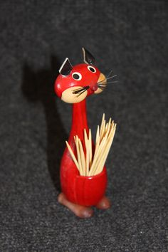 Red wooden mid century cat toothpick holder.