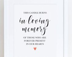 This Candle Burns In Loving Memory Wedding Sign Memorial Table Gold And White Printable Instant Suite