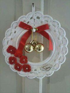 Best 10 Hand Crochet Christmas Ornament Santa Ornament by longvalleybears – SkillOfKing. Crochet Christmas Wreath, Crochet Wreath, Crochet Christmas Decorations, Christmas Crochet Patterns, Crochet Ornaments, Holiday Crochet, Crochet Snowflakes, Crochet Santa, Crochet Gifts