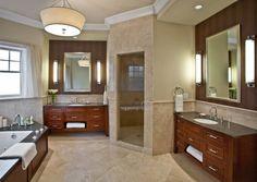 Tile 1/3 up wall works as backsplash. Contrast dark countertop with lighter floor color. Medium color of cabinet, between floor and tile color.... master bath