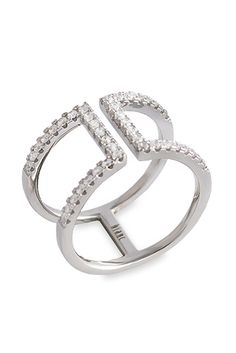 Bianc Sterling Silver Open Double Band Womens Ring 50100226  This divine ring will finish off any outfit perfectly. Sculpted from Rhodium plated sterling silver, this open double band ring features a row of decadent cubic zirconias for a finishing touch.