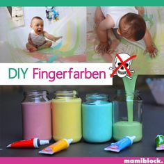 mamiblock - DIY finger paints for toddlers. It& so easy to make your own finger paints – guaranteed saf - Babysitting Activities, Sensory Activities, Infant Activities, Learning Activities, Activities For Kids, 7 Month Old Baby Activities, Baby Learning, Indoor Activities, Baby Sensory Play