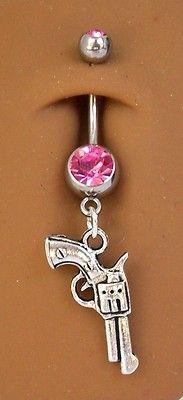 Silver pistol gun country girl pink gem dangle belly navel ring #82 FREE SHIP
