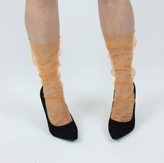 Orange Sheer Seam Tulle Socks Orange Sheer Stockings