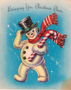Vintage Bringing You Christmas Cheer Snowman Greetings Card (B1)