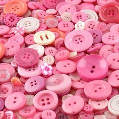 Pink crafting buttons made from polyester for sale in an assortment of shapes, sizes and shades of pink. Ideal for sewing projects, art work and crafting projects, buttons for sale in shades of pink are very popular. Sewing Projects, Craft Projects, Projects To Try, Craft Ideas, Wholesale Buttons, Buttons For Sale, Colored Chalk, Pin Art, Button Art