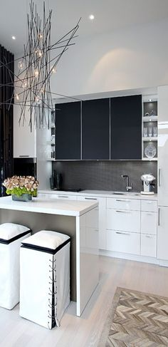 Funky, contemporary small kitchen, nice for small apartment