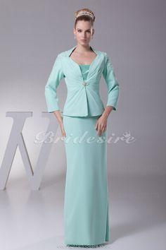 Bridesire - Tubino Canotta Raso terra Maniche a 3/4 Chiffon vestito [BD4352] - €104.91 : Bridesire