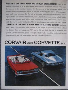 1964 Corvair Advertisement with 1964 Corvette 2 page