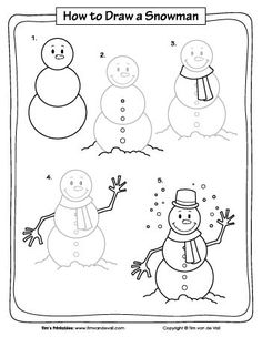 How to Draw a Snowman - Tim's Printables Drawing Lessons For Kids, Art Drawings For Kids, Doodle Drawings, Art Lessons, Art For Kids, Easy Christmas Drawings, Christmas Doodles, Christmas Paintings, Christmas Art
