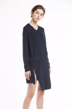 Knitbest Women's V Neck Long Sleeve Tie Waist Pullover Cotton Sweater Dress Knit Sweater Dress, Cotton Sweater, Jumper, Knitwear, Cold Shoulder Dress, V Neck, Pullover, Tie, Knitting