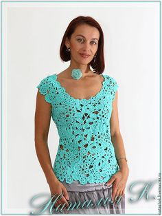 Tops handmade.  Fair Masters - handmade.  Buy Azure tear.  Handmade.  Turquoise, the Irish crochet, Irish