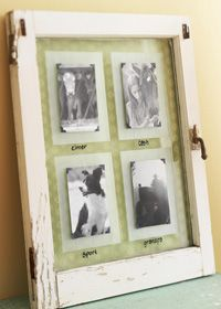 With photos mounted outside its glass, this photo display pretties up a home office—and makes it easy to swap in new images.  Clean up an old single-pane window. Use glass-etching cream and painter's tape to create four frosted squares on the glass; each should be 1 inch bigger than the photos. Position photo corners on the outside of the glass; insert pictures. Back glass with a favorite wrapping paper, then write captions using a dry-erase marker.