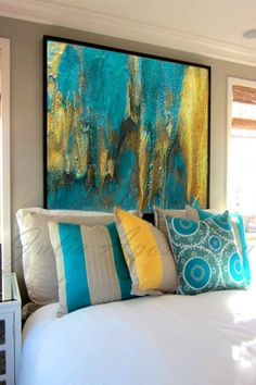 Ready to Hang Emerald and Gold Abstract Painting Fine Art