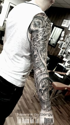 Bio-mechanical sleeve tattoo blackandgray realistic tattoo BlackHatDublin