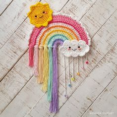 Rainbow - crochet pattern / Arcoiris patrón crochet amigurumi for kids Crochet Motifs, Crochet Patterns Amigurumi, Crochet Stitches, Baby Crochet Patterns, Crochet Bunting, Poncho Patterns, Doll Patterns Free, Cat Cross Stitches, Needlepoint Stitches