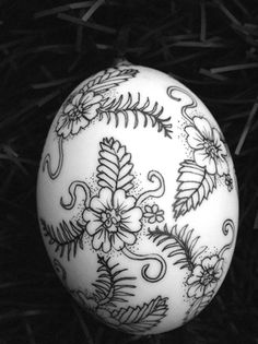 Egg Christmas ornament black and white by TheKestrelAndTheSea, £6.50