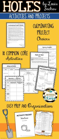 This activity pack for Holes, by Louis Sachar, contains 35 pages of Common Core-aligned reading response activities. Focuses include character analysis, figurative language, reading for details, point of view, and more.  All activities have the Common Core code listed in the bottom corner, providing focus. Graphic organizers are easily adapted for every learner. Creative projects and tasks will keep your students engaged.
