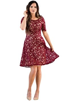 Sloan Modest Bridesmaid Lace Dress in Burgundy w/Tan (Nude) Lining