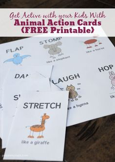 Active with your Kids with Animal Action Cards FREE Printable! Get Active with your Kids with Animal Action Cards FREE Printable! Zoo Activities, Gross Motor Activities, Movement Activities, Preschool Activities, Physical Activities, Animal Movement, Card Workout, Animal Action, Action Cards