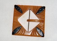 Bakelite Belt Buckle Art Deco Belt Buckle Butterscotch Bakelite