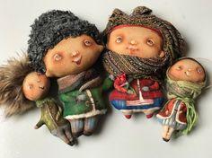 Doll Face Paint, Travel Toys, Handmade Toys, Brooches, Kids Toys, Primitive, Snowman, Scrap, Miniatures